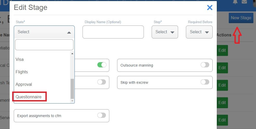 screenshot of Martide website showing how to add a questionnaire into a recruitment pipeline