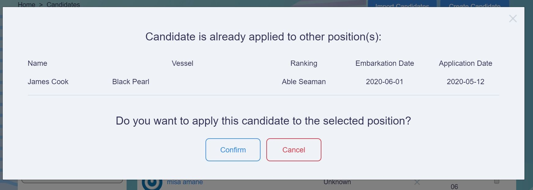 screenshot of Martide website showing a pop up warning that a candidate has already been applied to a vjo