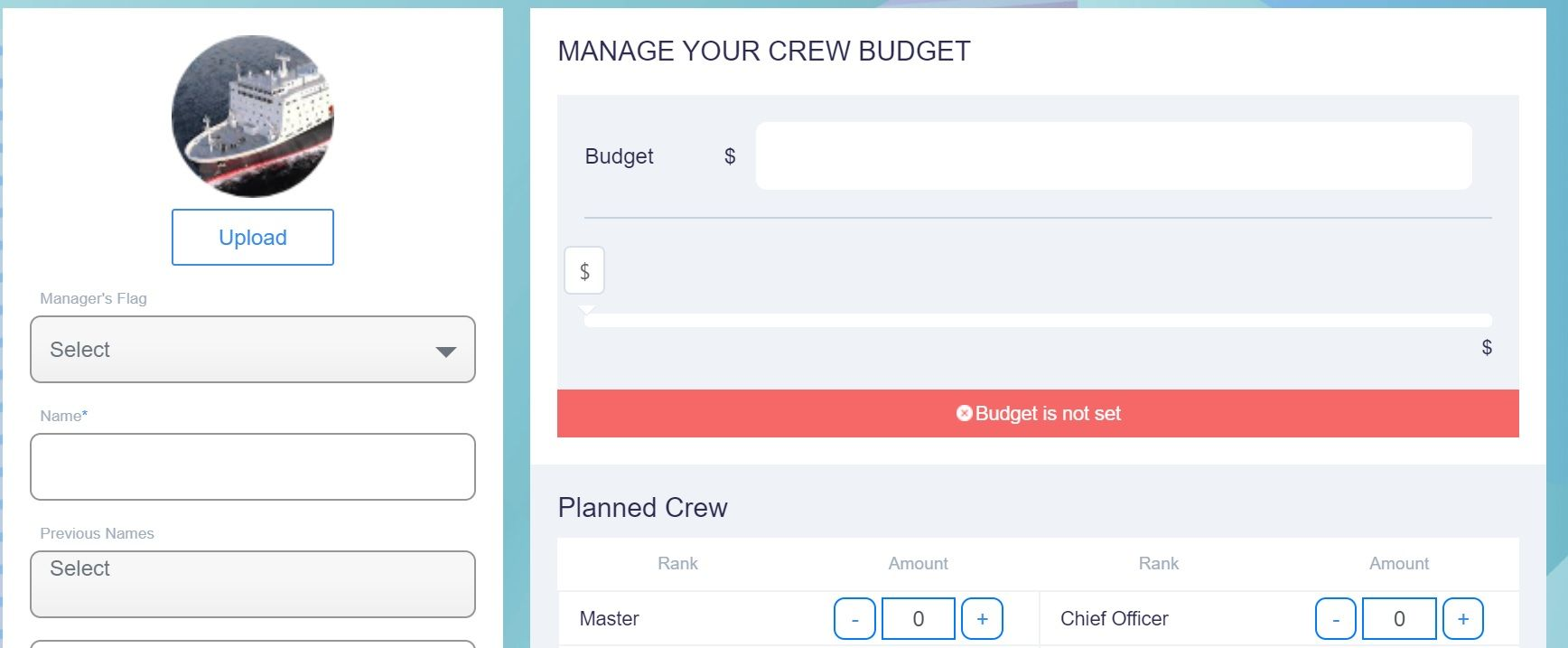 screenshot of Martide website showing where to enter the crew budget