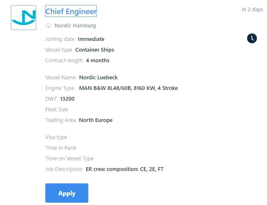 screenshot of Martide website showing the maritime job details page