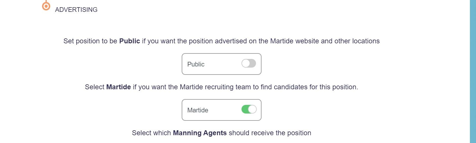 screenshot of Martide website showing the advertising section