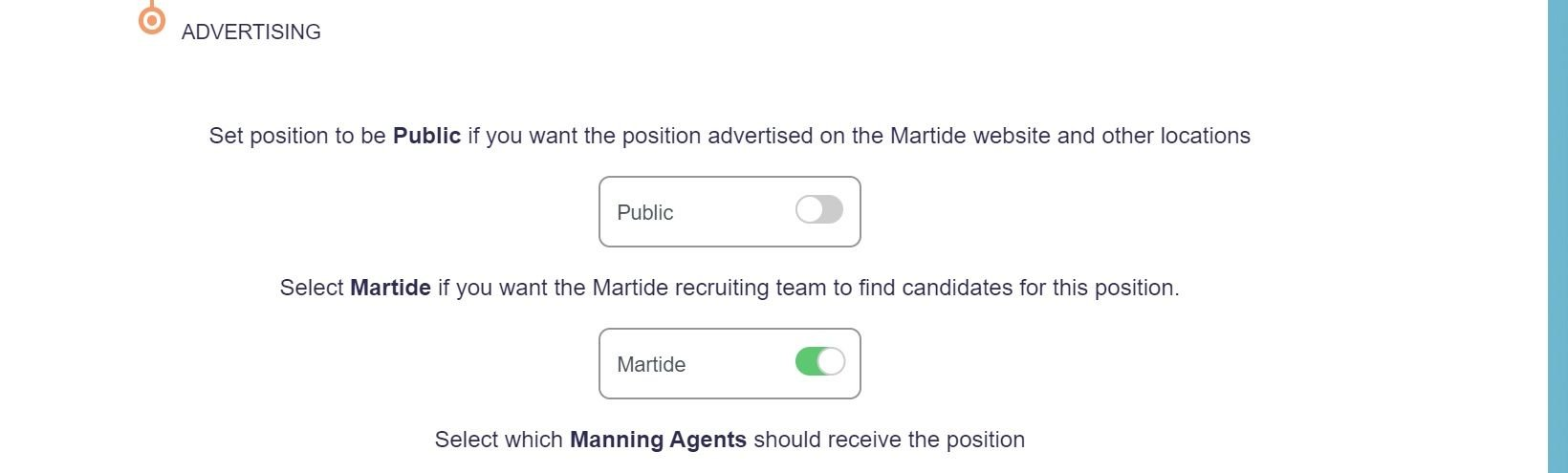 screenshot of the  Martide website showing how to advertise your position