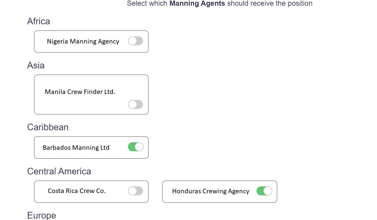 screenshot of Martide website showing the choice of manning agents