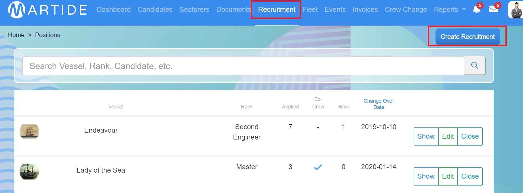screenshot of Martide website showing the Recruitment tab in the header bar