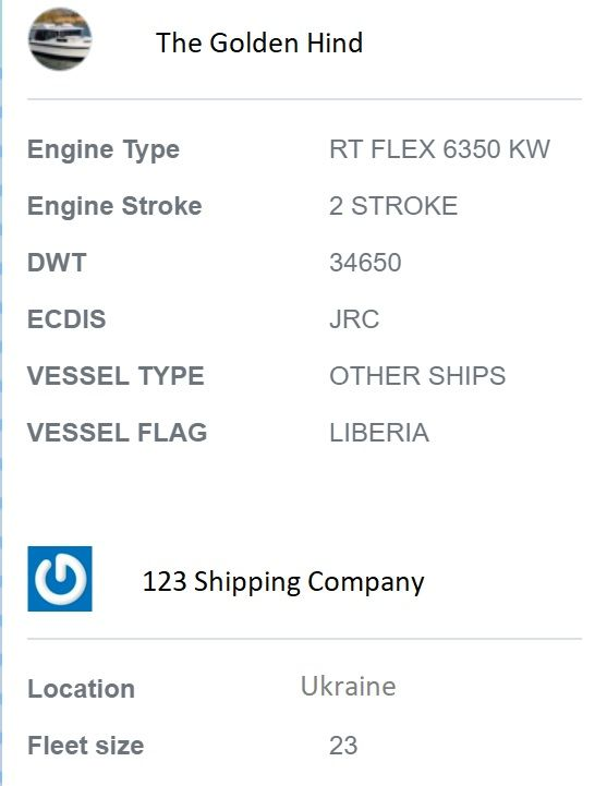 screenshot of Martide website showing vessel and company info