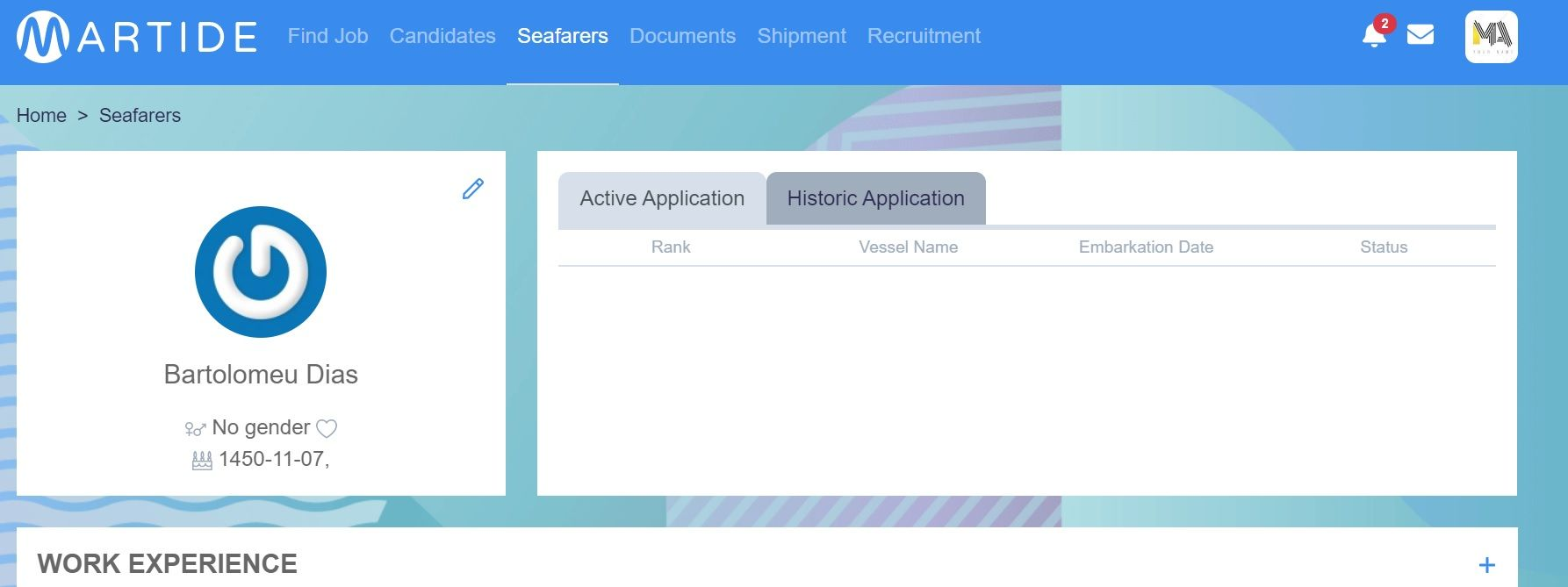 Screenshot of Martide website showing the new seafarer's blank profile