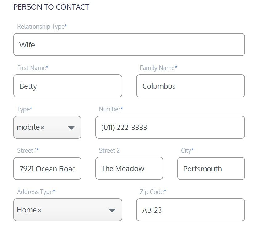 screenshot of the Martide website showing the emergency contact section