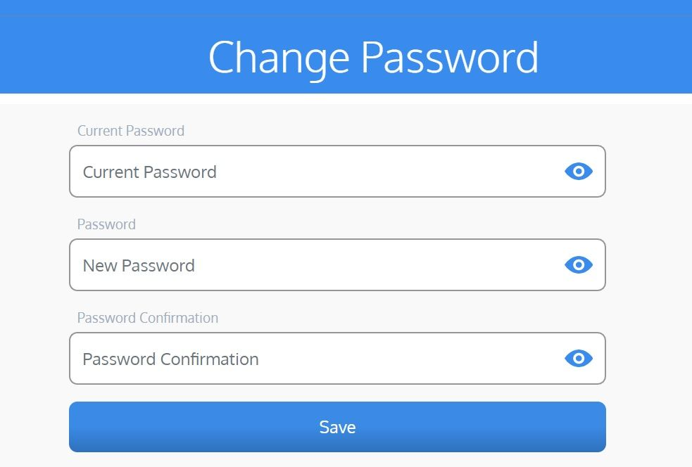 screenshot of Martide website showing the password change screen