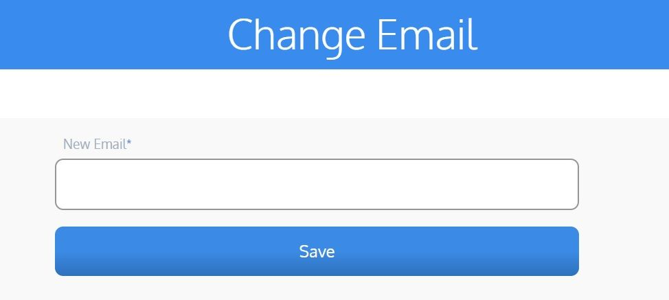 screenshot of Martide website showing the email change screen