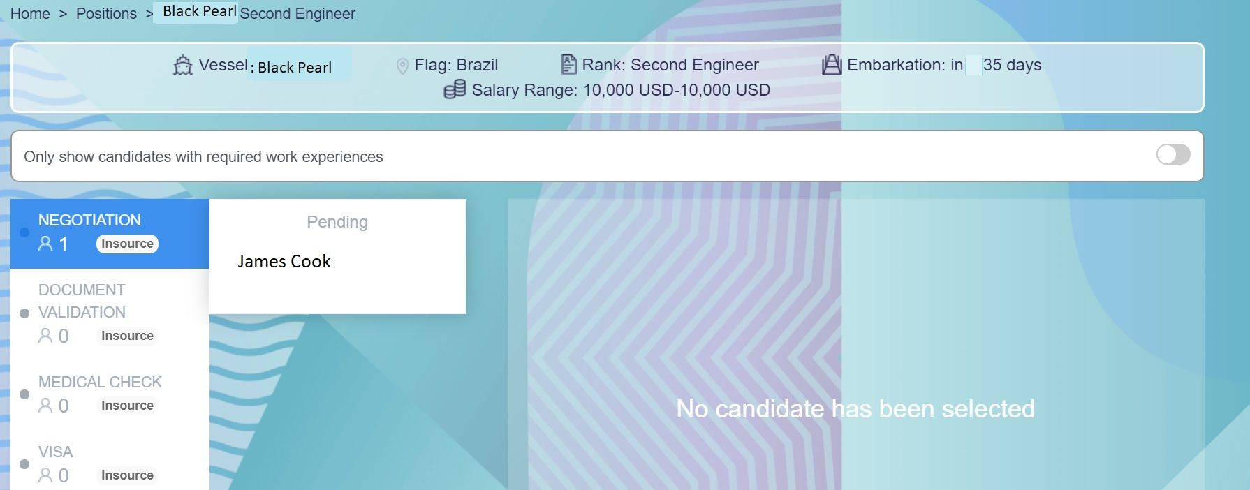 screenshot of Martide website showing a candidate's application