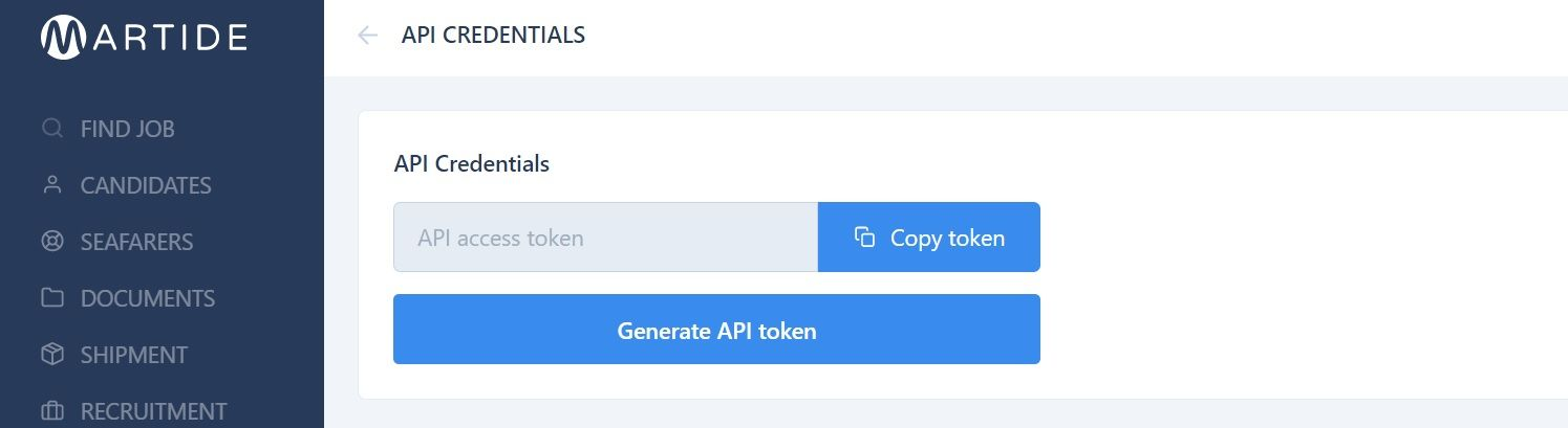 screenshot of the Martide website showing where to copy the access token