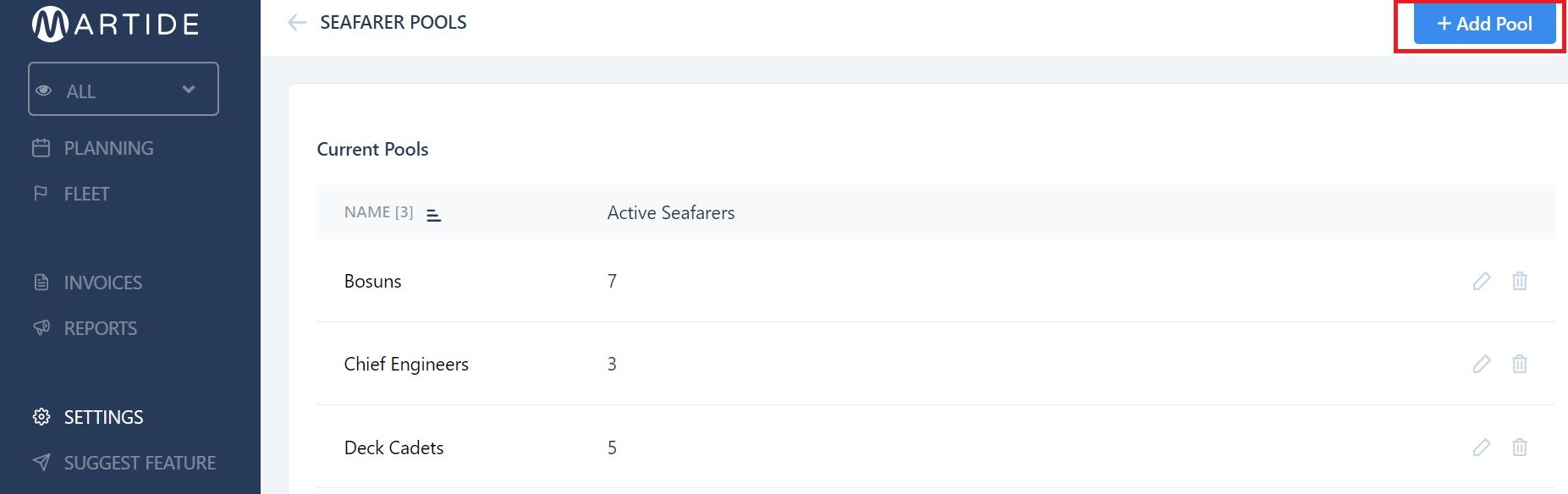 screenshot of Martide's maritime recruitment website showing the seafarer pools page