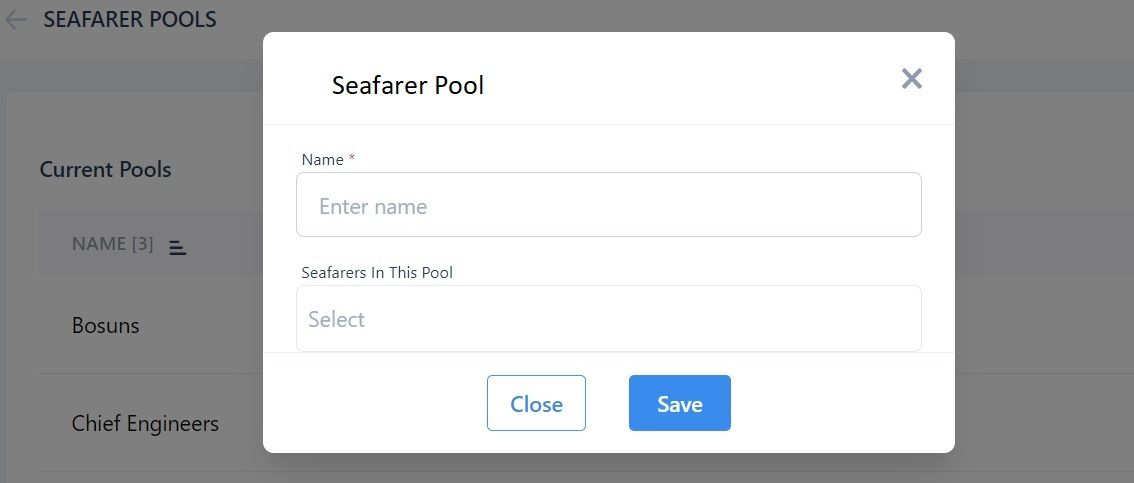 screenshot of Martide website showing where to add a new seafarer pool