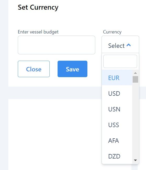 screenshot of Martide maritime recruitment website showing where to add budget and currency