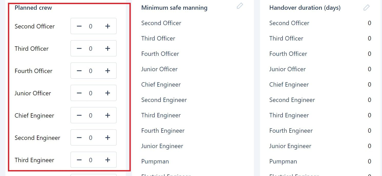 screenshot of Martide maritime recruitment website showing where to add crew planning numbers