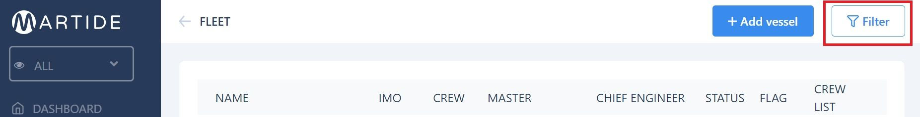 screenshot of Martide maritime recruitment website showing what happens when you turn the filter off