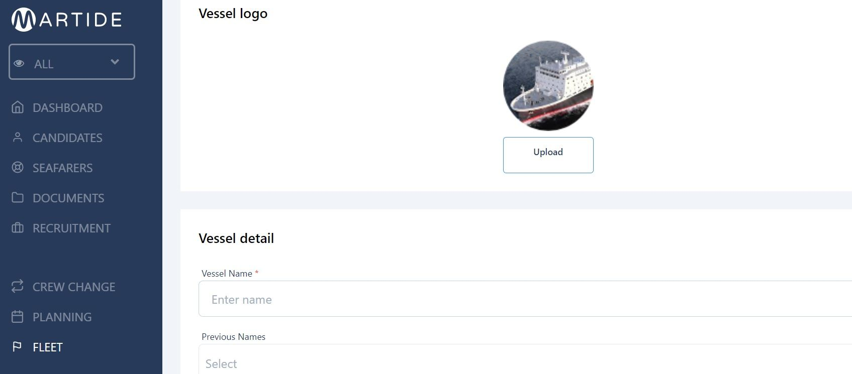 screenshot of Martide maritime recruitment website showing a new vessel page