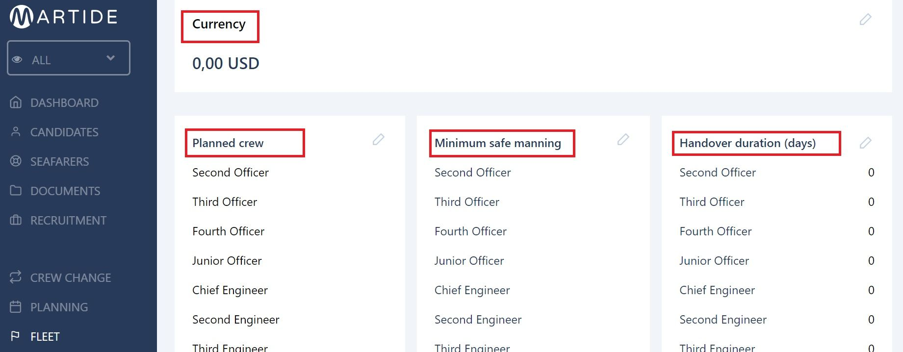 screenshot showing the currency, planned crew, minimum safe manning and handover sections