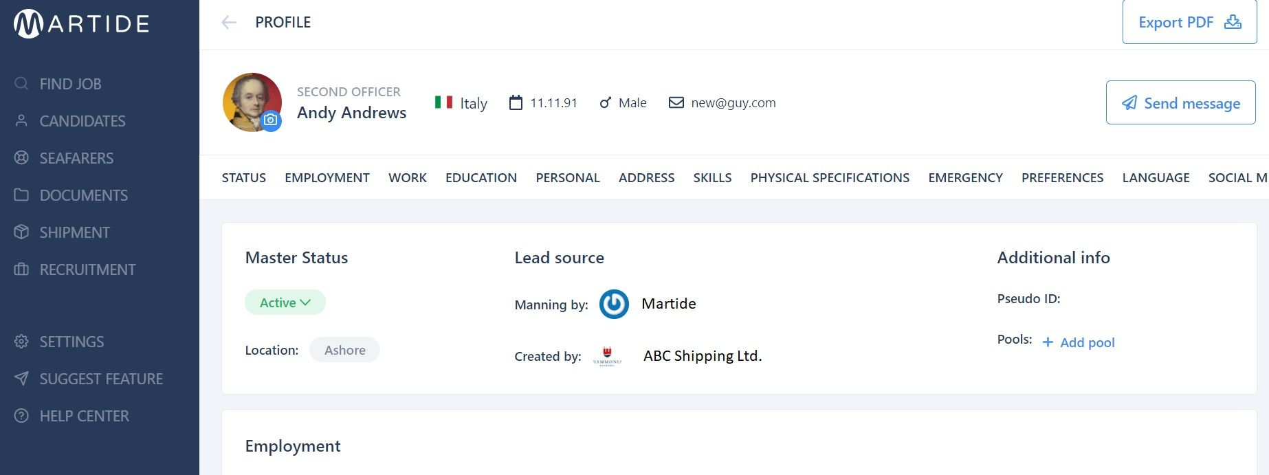 Screenshot of Martide website showing the seafarer profile page