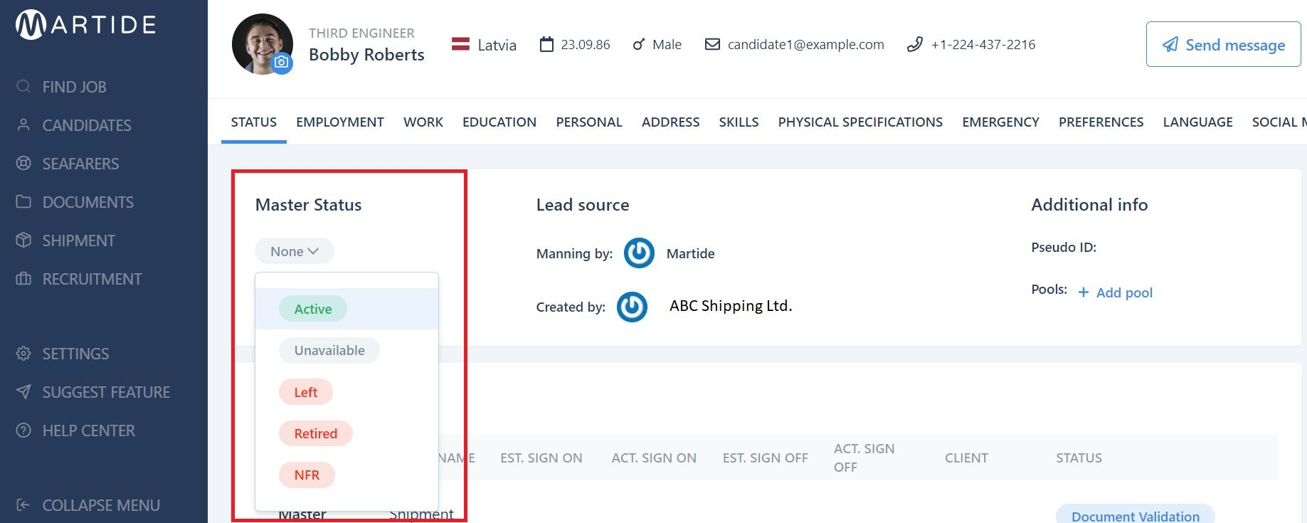 screenshot of Martide's maritime recruitment platform showing how to change the Master Status