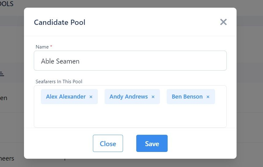 screenshot of the Martide website showing where to edit a candidate pool