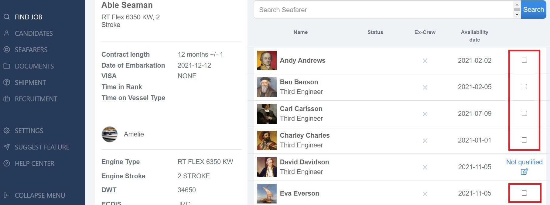 screenshot of Martide website showing a list of candidates and a check mark showing who is qualified