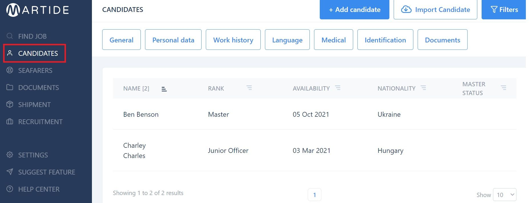 screenshot of Martide website showing the candidates page