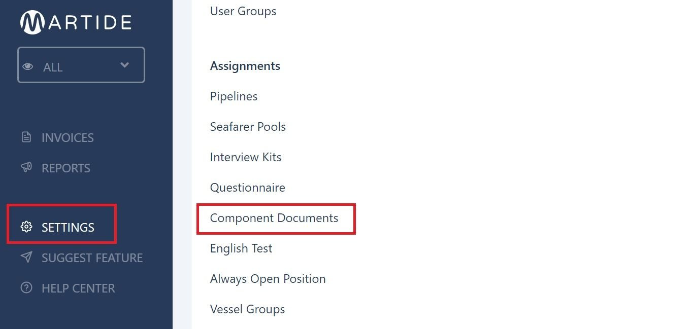 screenshot of Martide website showing where to find component documents