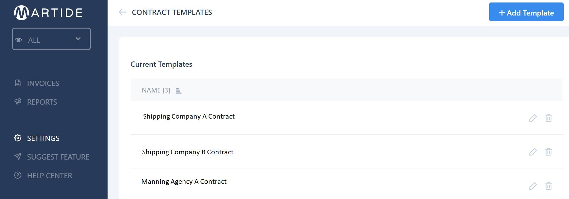 screenshot of Martide website showing the main Contract Templates page