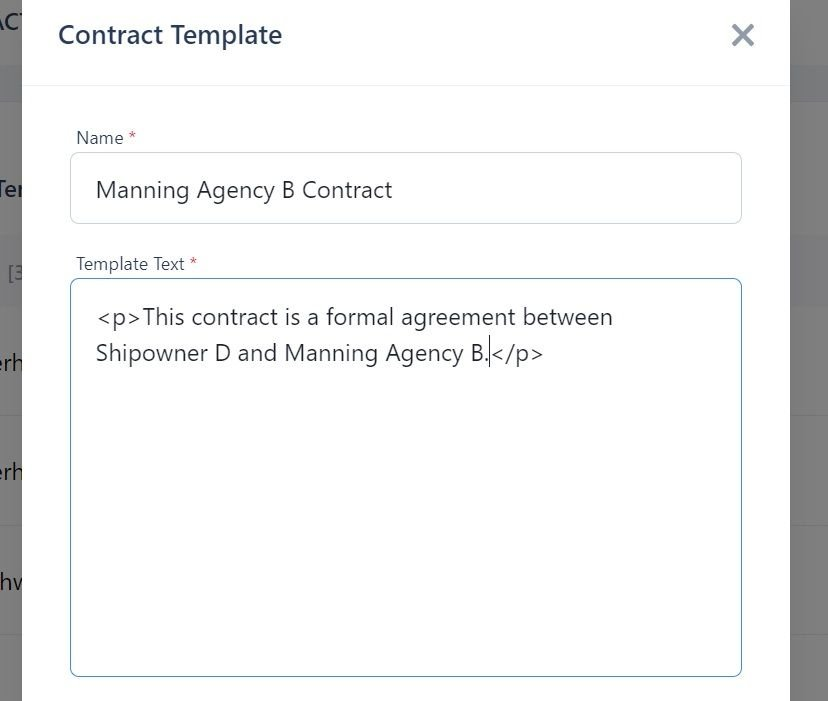 screenshot of Martide website showing a contract text in the box