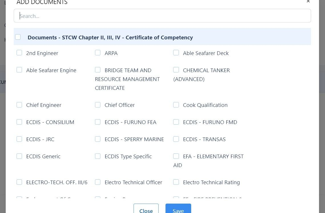 screenshot showing the different documents you can add to a Data Template