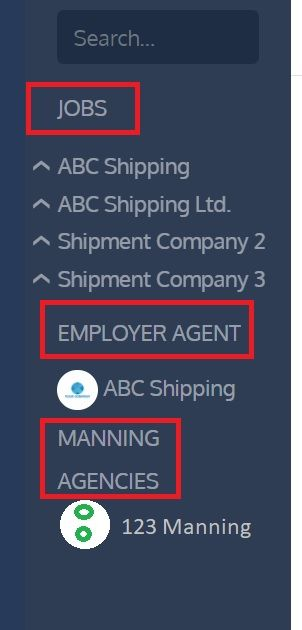 screenshot of Martide website showing a seafarers message inbox control panel