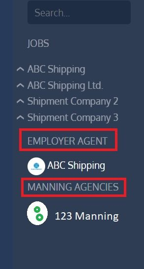 screenshot showing where to find employer agent and manning agencies messages