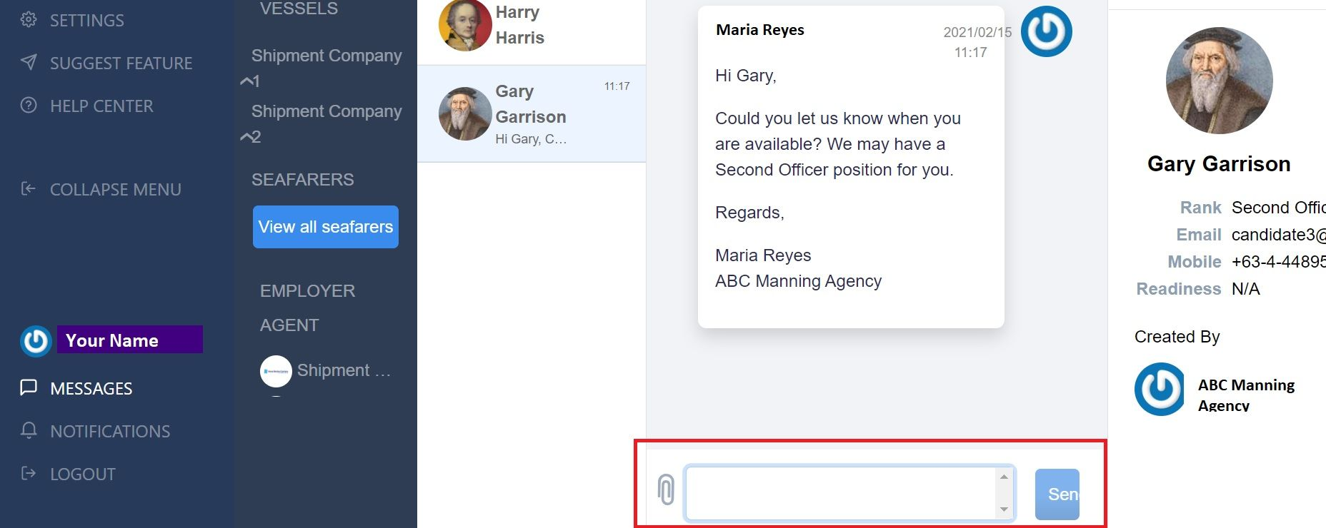 screenshot showing where to type a new message