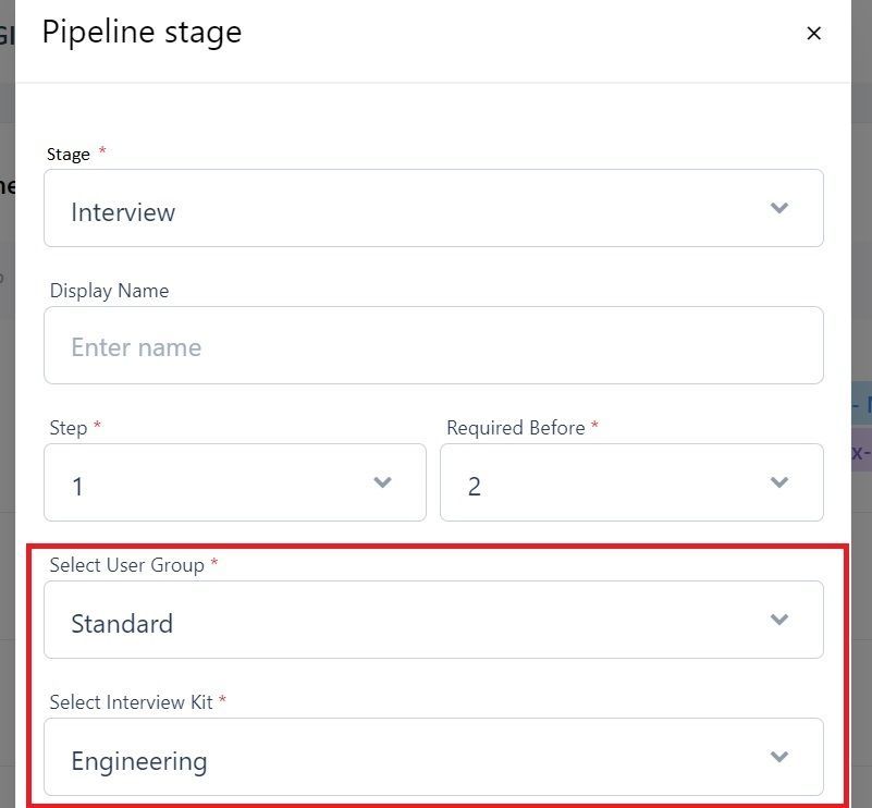 screenshot of Martide website showing the interview stage of a pipeline