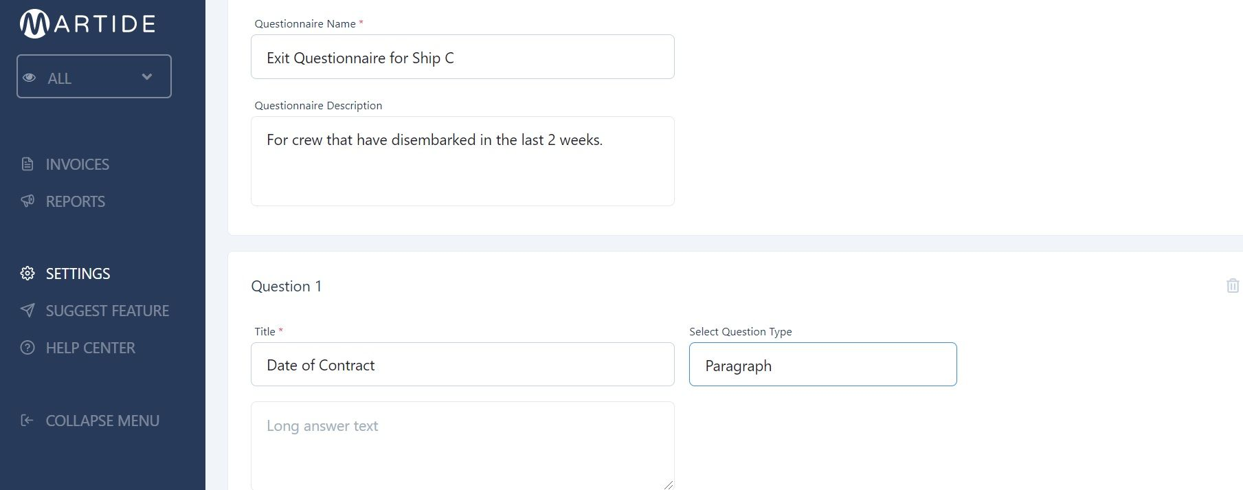 screenshot of the Martide maritime recruitment website showing how to create a questionnaire
