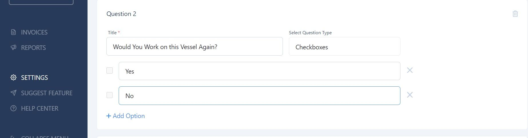 screenshot of Martide website showing how to enter a question