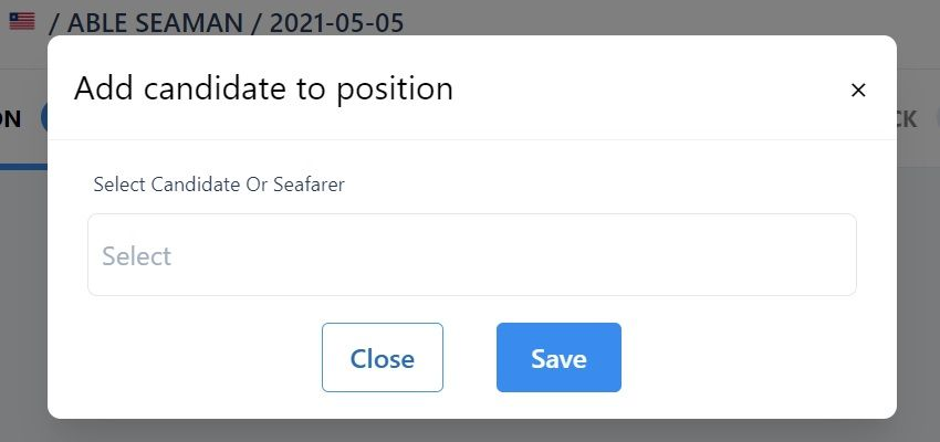 screenshot of the pop-up box where you can add a candidate to an assignment