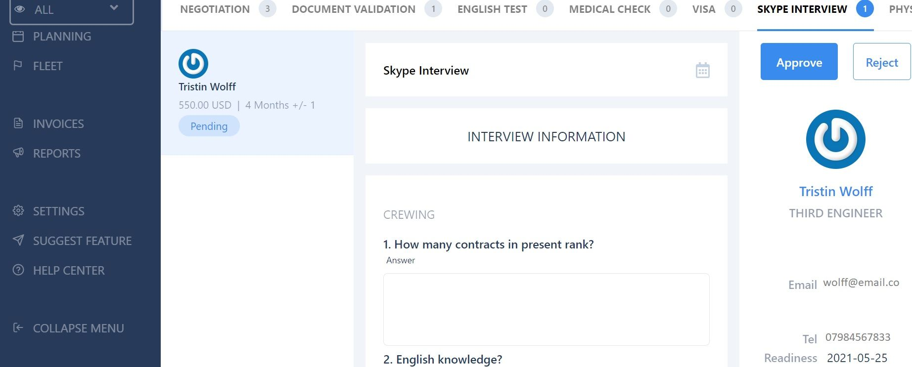 screenshot showing the skype interview stage of the pipeline