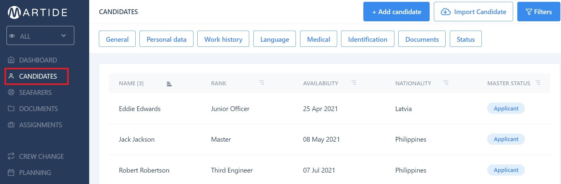 screenshot of Martide maritime recruitment website showing the candidates page