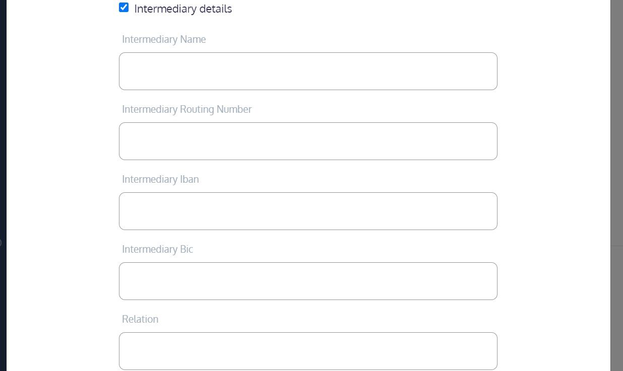 screenshot of the Martide website showing the intermediary part of the bank detail section