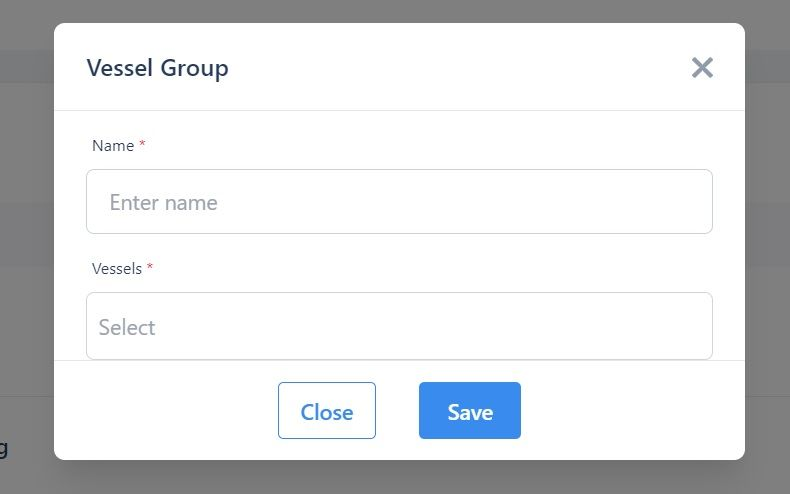 Screenshot of the Martide website showing the new Vessel Group pop-up box