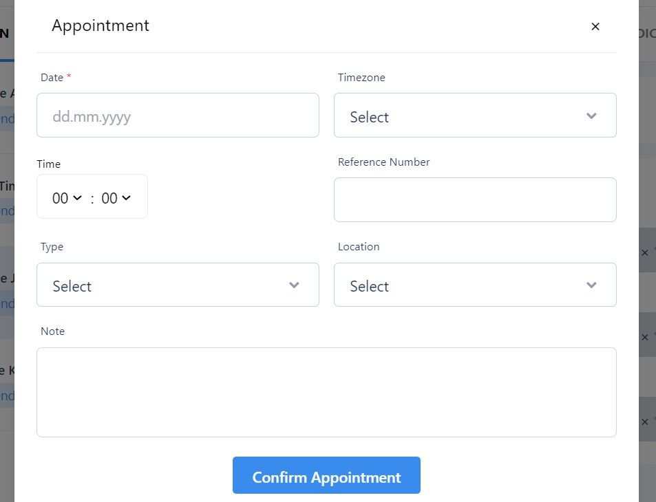 screenshot of the Martide website showing the appointment pop-up box.