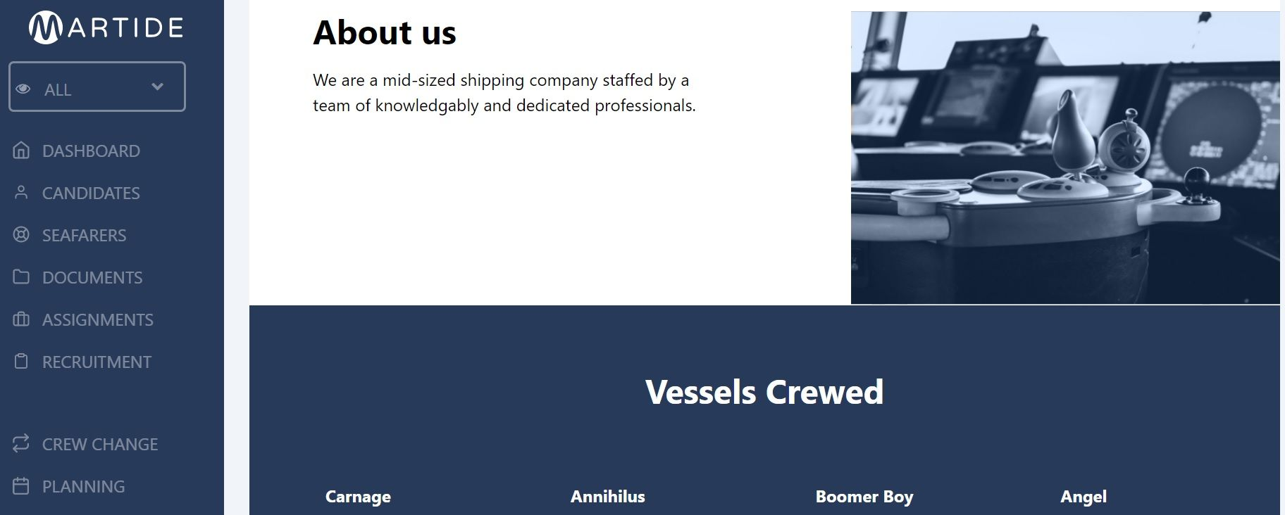 screenshot of the public about us and vessels crewed sections.