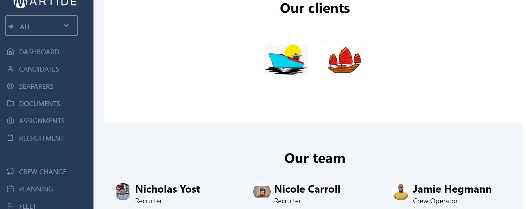 screenshot of the clients and team sections.