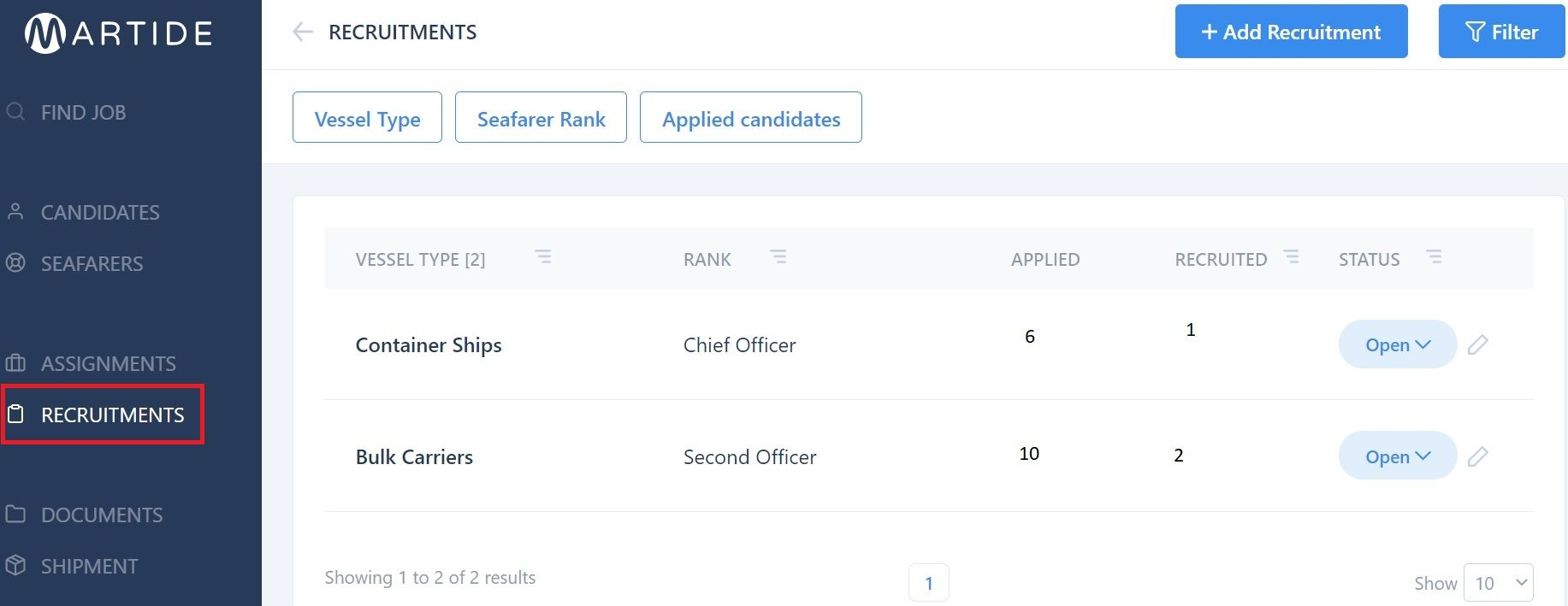 screenshot of the Martide website showing the recruitments page