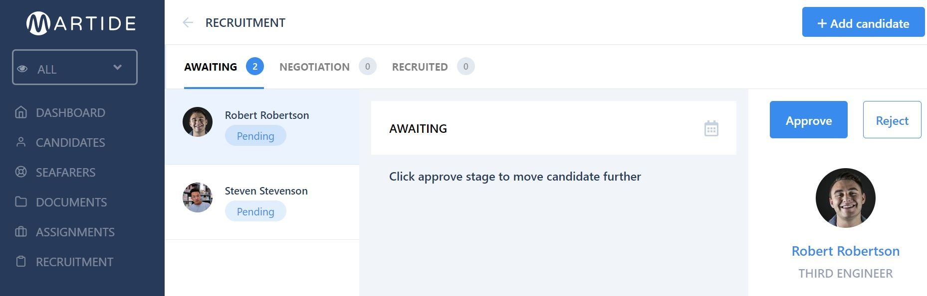 screenshot showing the candidates in a pipeline.