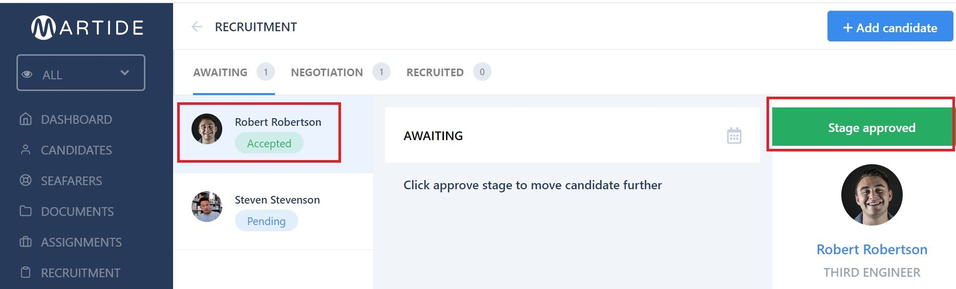 screenshot of candidates in the pipeline