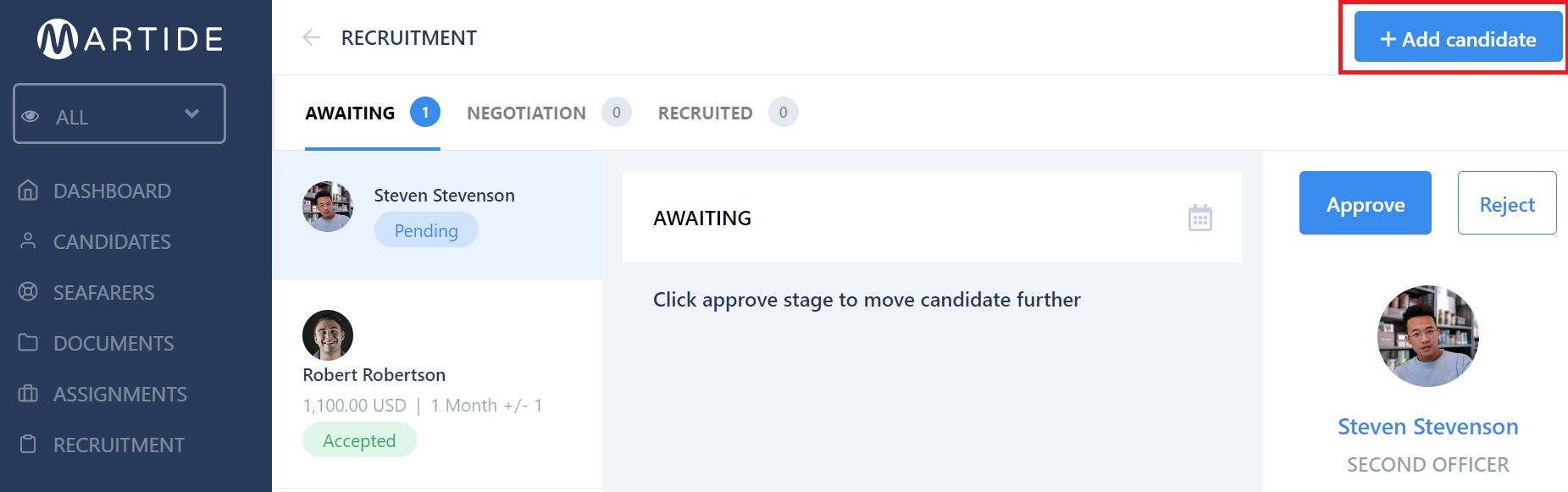 screenshot showing the add candidate button