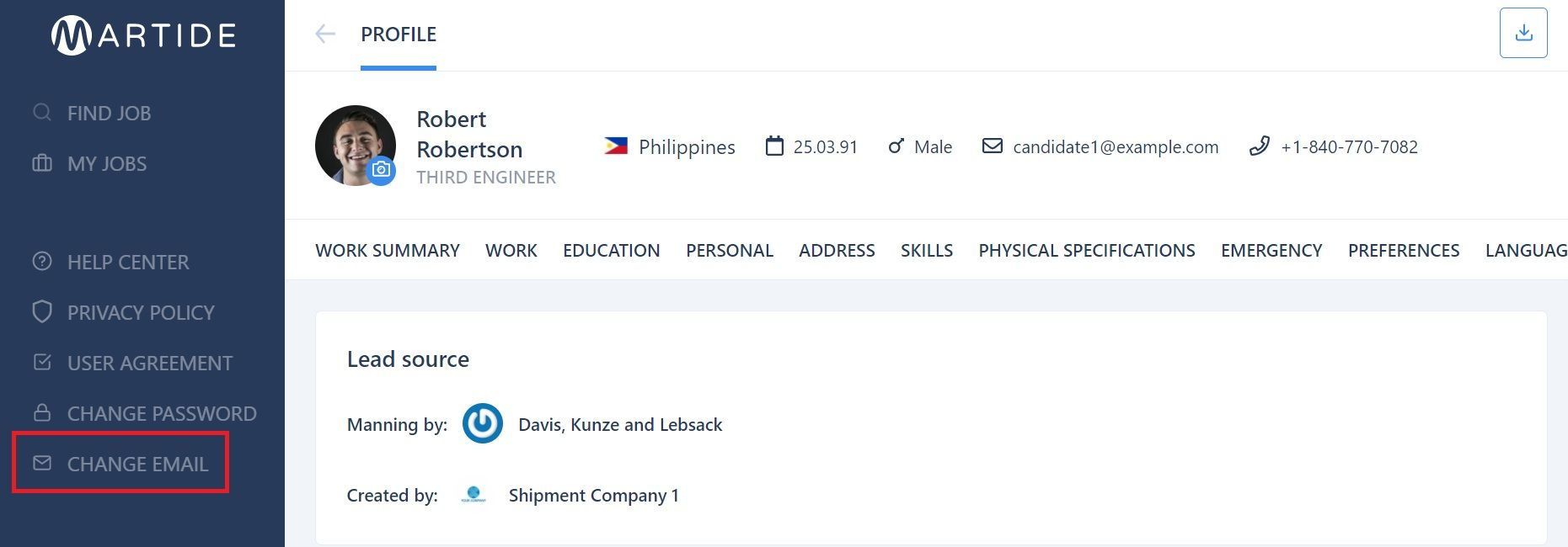 screenshot of the Martide website showing a seafarer's profile page